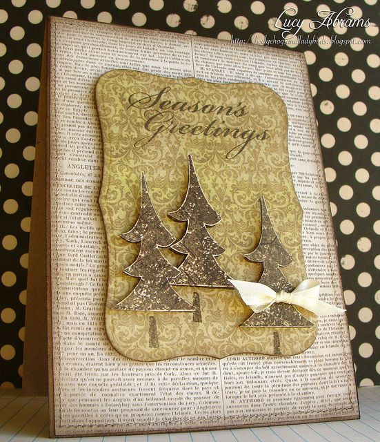 Three Christmas Trees by Lucy Abrams...luv the earthy colors and the placement of the three popped trees...