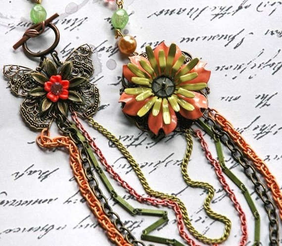 Jubilant Flight - Vintage Mossy Tangerine Fall Autumn Enamel Flower Butterfly Eco Friendly Statement Steampunk Necklace