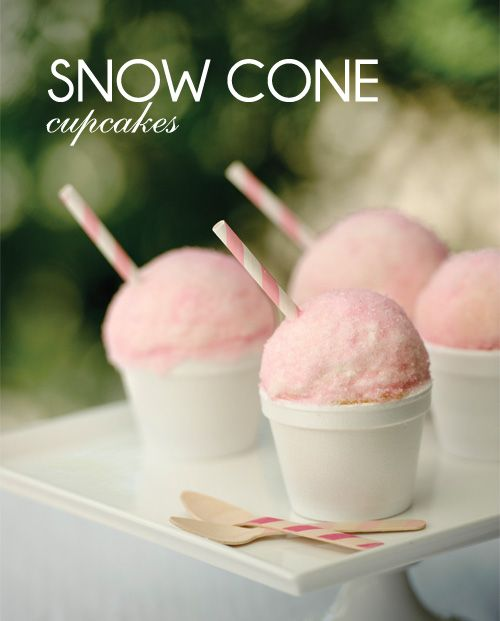 Snow Cone Cupcakes {The Party Dress}  **stripey straws & wooden spoons available in the shop www.shopsweetlulu.com **