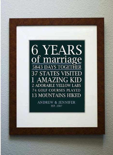 Must remember this for a future anniversary... might save it for 10 years, and adapt to suit--follow me (Hannah Hunter Seagraves) for more interesting pics, I follow back #follow #followme #followback #marriage #lists #anniversary