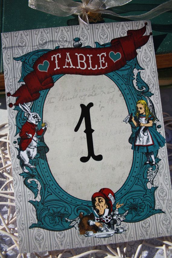 totes and bags Vintage Alice In Wonderland Table Numbers White Rabbit Mad Hatter a
