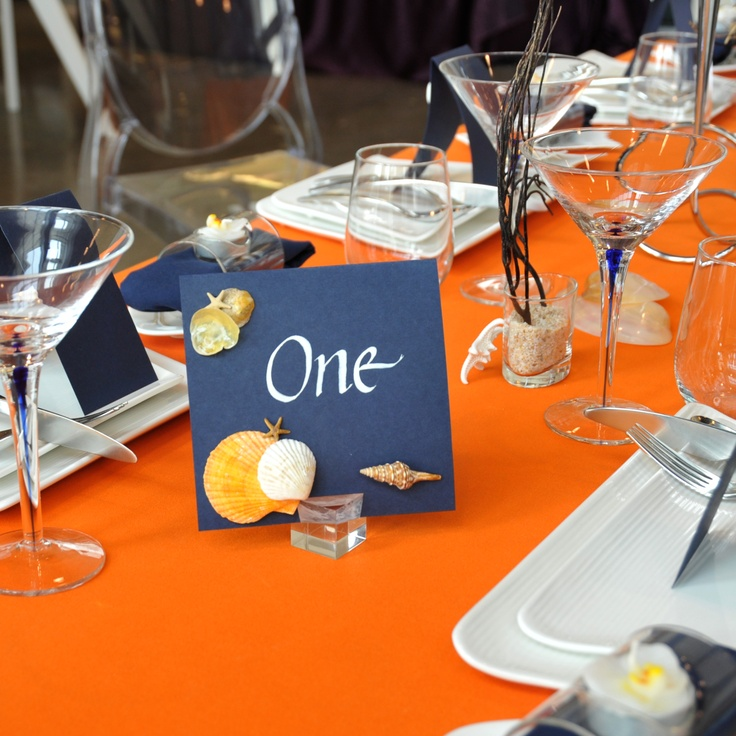 Orange Navy Blue Table Setting Tablescape Ideas