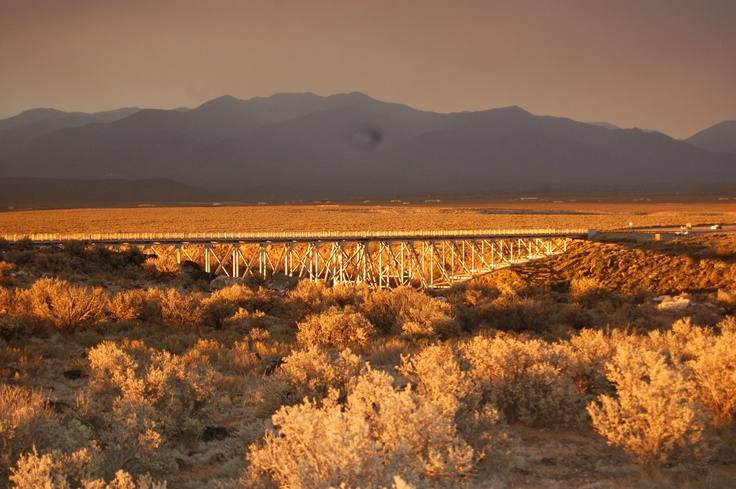 sunset at the rio grande gorge bridge, taos, nm