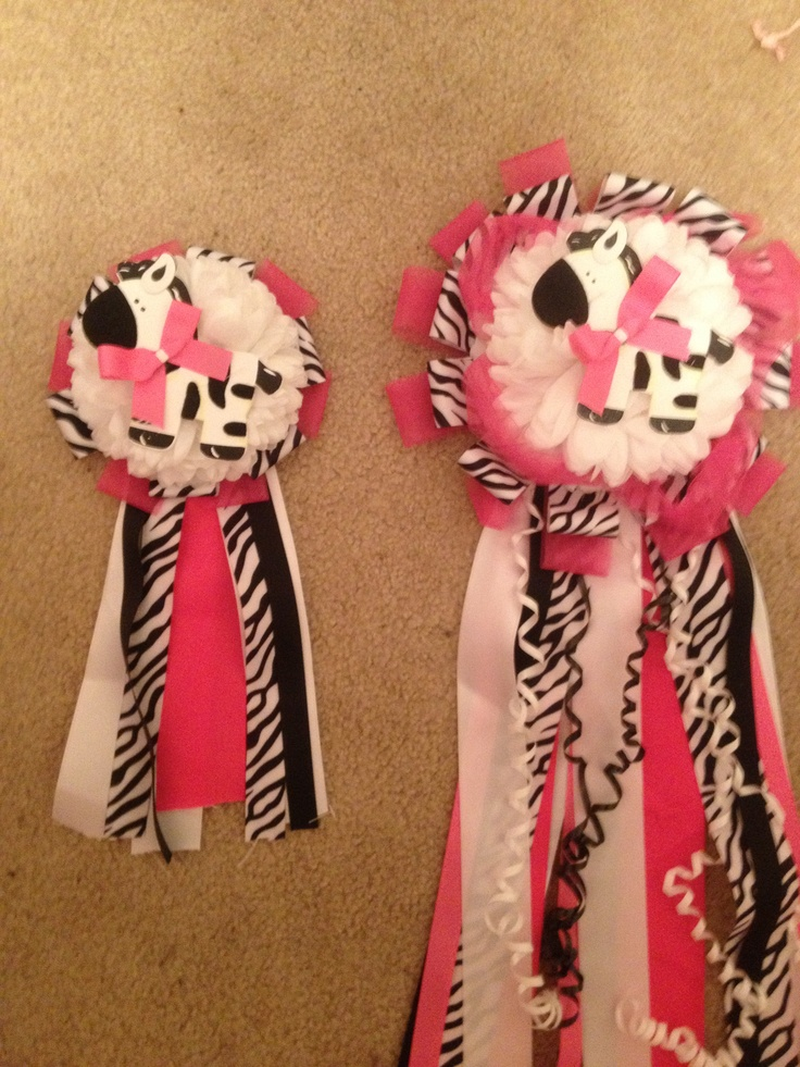 Matching zebra/pink mums I made for a baby shower. For a mother and daughter