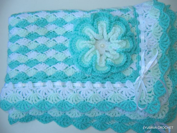 Crochet Baby Blanket PATTERN - Turquoise Sea Shell Baby ...