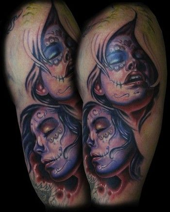 New school green day of the dead tattoos for women for Old school day of the dead tattoo