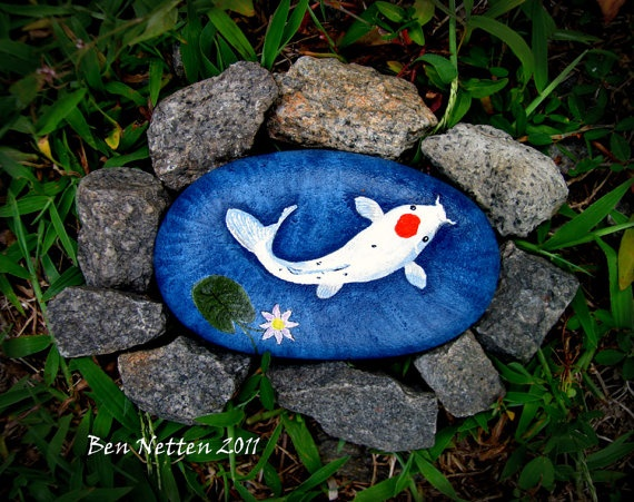 Hand painted white koi fish on a rock acrylic animal pet for Koi fish pond rocks