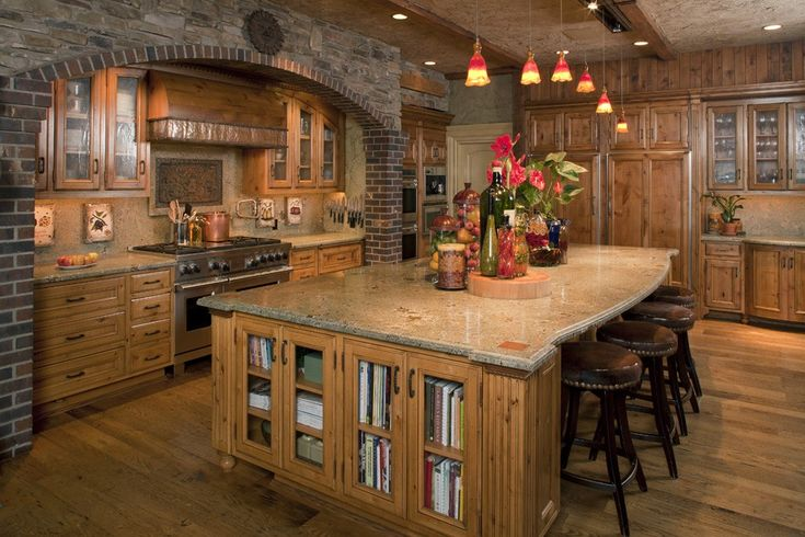 Nice modern yet rustic kitchen with large island pinpoint for Nice modern kitchens