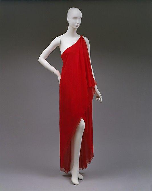 Halston (American, 1932–1990). Dress, Evening, ca. 1978. The Metropolitan Museum of Art, New York. Gift of Alexandra Auchincloss Herzan from the collection of Lily Auchincloss, 1996 (1996.480.3) #reddress
