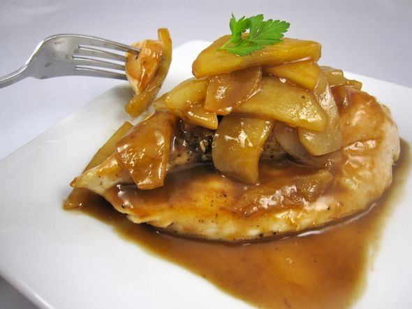 Glazed Apple Cider Chicken with Apples and Pears