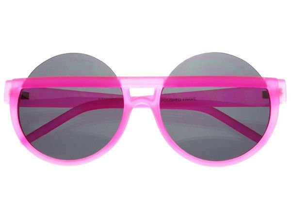 Large Half Frame Neon Pink Round Sunglasses Womens R555