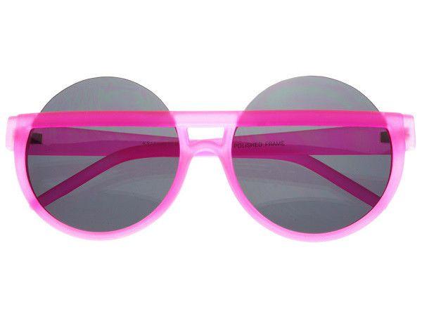 Large Half Frame Neon Pink Round Sunglasses Womens R555
