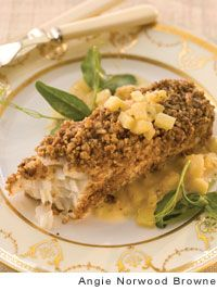 Halibut with Nut Crust and Apple Vinaigrette by Renee Behnke