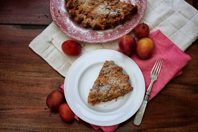 Short and sweet: plum and hazelnut crumble tart - from Nutmegs, seven