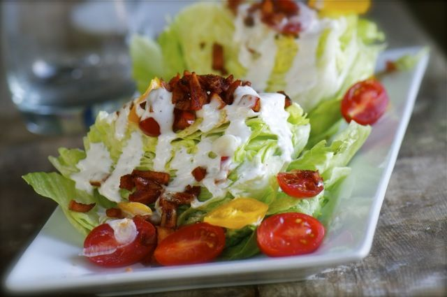 salad with creamy vegan dressing and smokey apple bits in leu of bacon ...