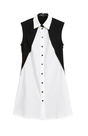 Shirt Dress with Black & White Panel on fashion clothing stores online