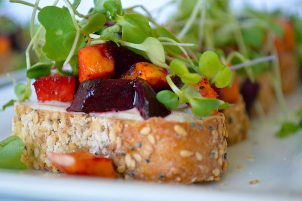 ... Sweet potatoes, red beets, goat cheese appetizer. www.honeyedhome.com