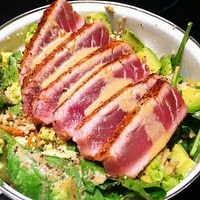 Ahi Tuna and Avocado salad with creamy Wasabi Mayo dressing!!