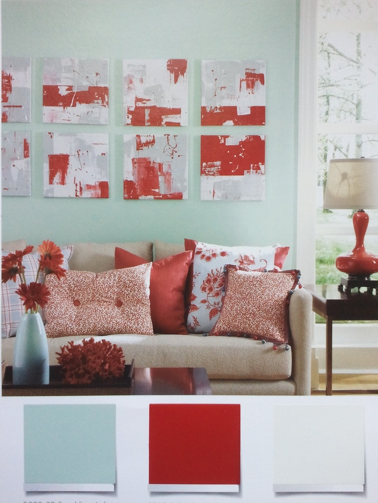 light teal and red(future kitchen colors)