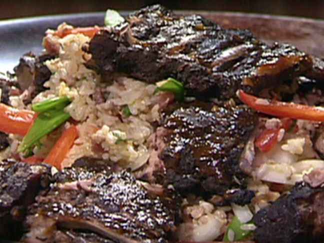 Asian Rubbed Baby Back Ribs with Hoisin BBQ Sauce and Lotus Root Stir ...
