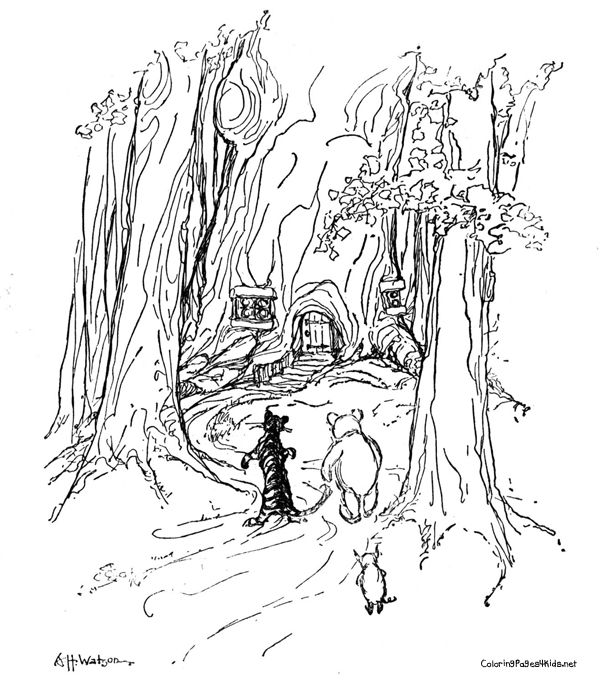 forest of trees coloring pages - photo#19