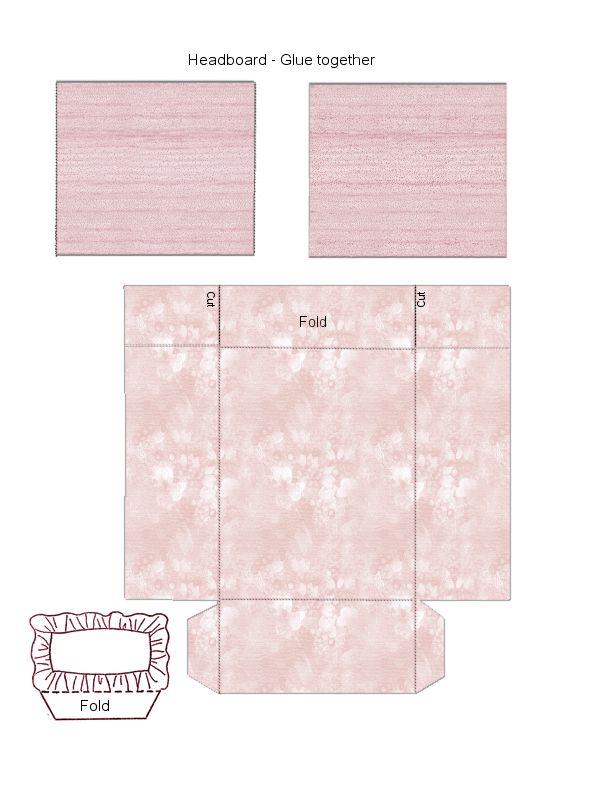 Pink bed headboard pillow dollhouse pinterest
