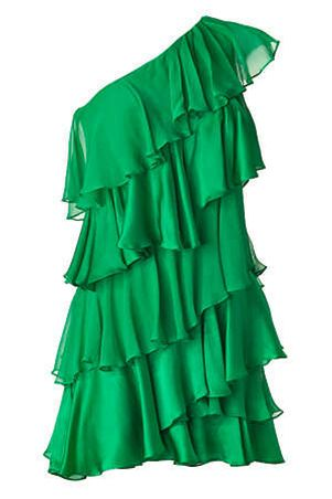 Halston Heritage Tiered One Shoulder Silk Grass Green Dress  Delightful Cheerful vibrant style    A cocktail Party Must Have