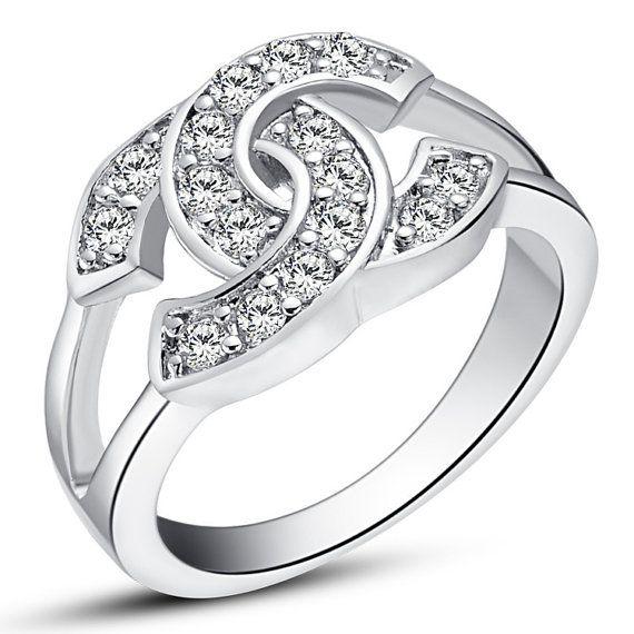 brand ring silver chanel cz zircon dimonds wedding rings white gold w
