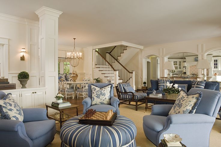 Blue and white living room cool rooms pinterest