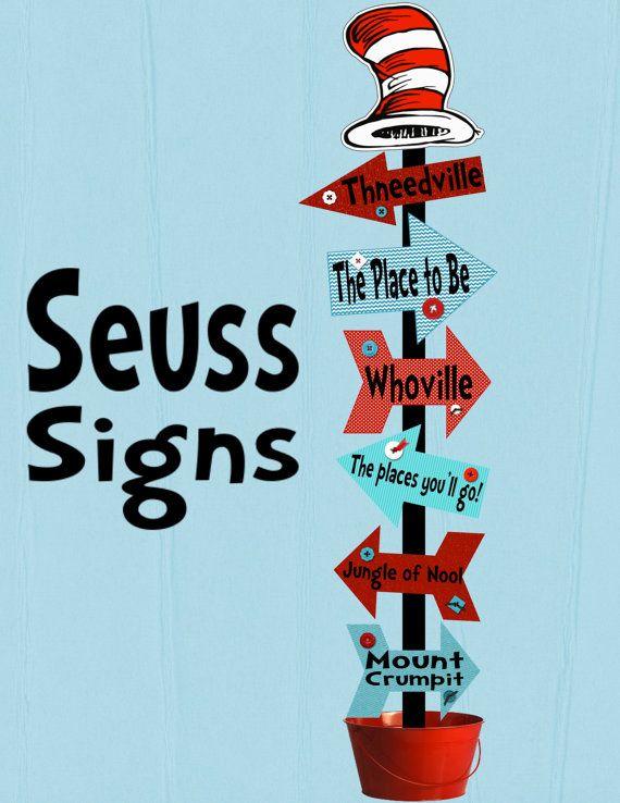 Seuss Signs Arrows Decoration Printable Digital by ...