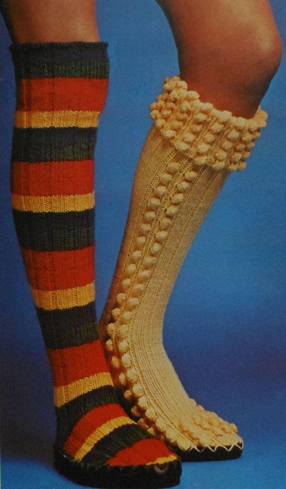 Knitting Pattern For Ladies Long Socks : Retro Long Slipper Socks Knitting Pattern Womens slippers ...