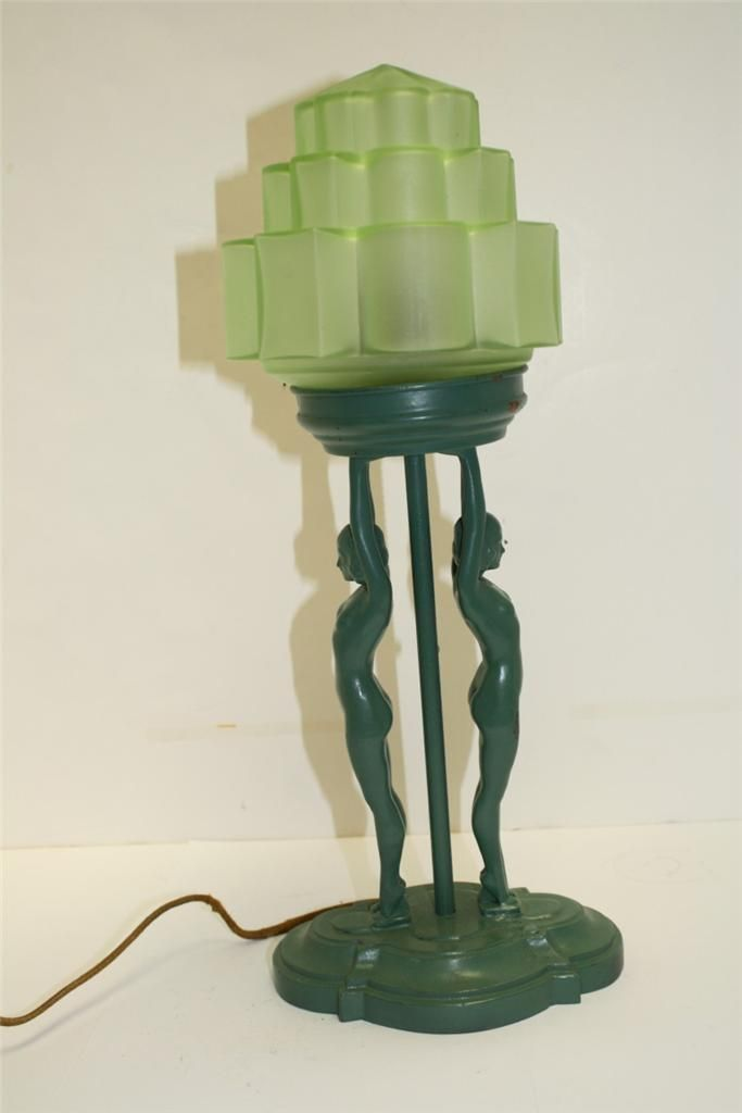 Art Deco Figural Table Lamp With Nude Figure Nuart Frankart Lamp Or E