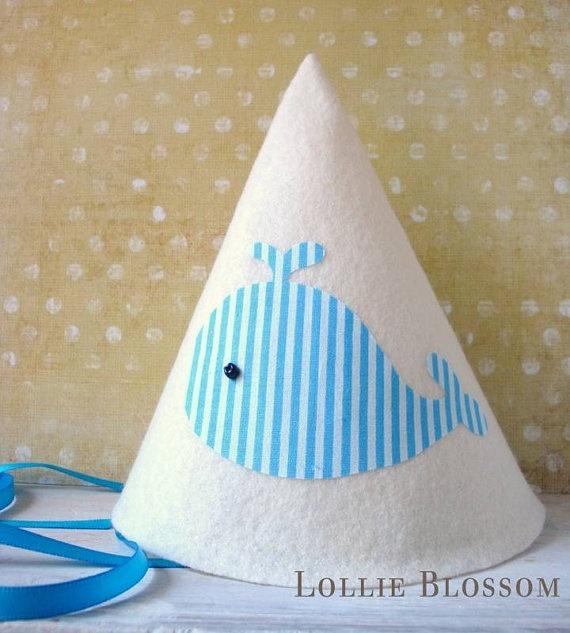 Felt Birthday Hat Blue Whale First Birthday by LollieBlossom, $15.00