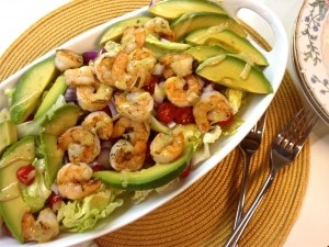 Grilled Shrimp and Avocado salad with Lemon Mustard Vinaigrette