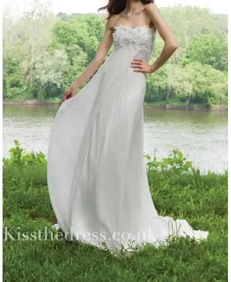 Chiffon floral empire beach wedding dress wd kissthedress co uk