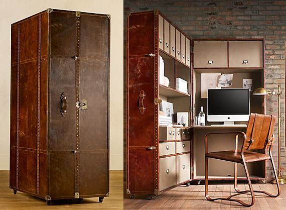 Antique-Looking Mayfair Steamer Secretary Trunk Opens Into A Workstation