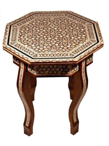 Egyptian Moroccan Vintage Mother Of Pearl Mosaic Wood Coffee Table 4
