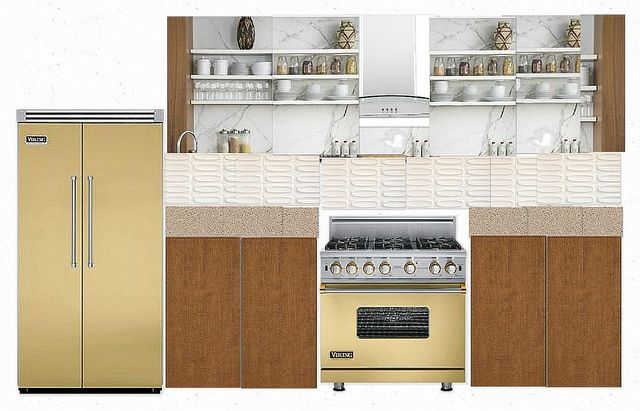 Maple cabinets Heath Ceramics oval tile backsplash Harvest gold