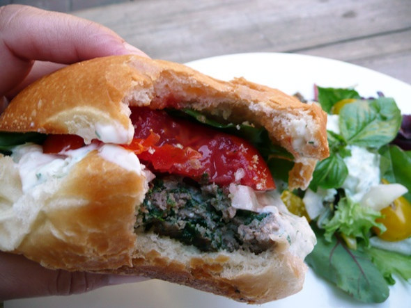 Feta stuffed Gyro Burger with Tzatziki Sauce ..... YUM!