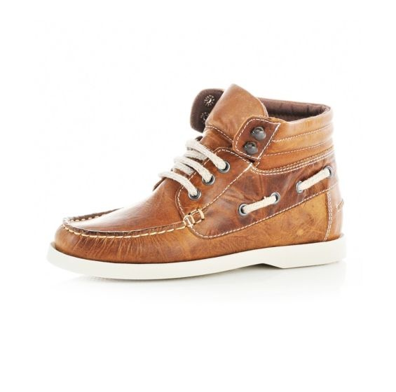 Boys' high top boat shoes in tan. 29.99