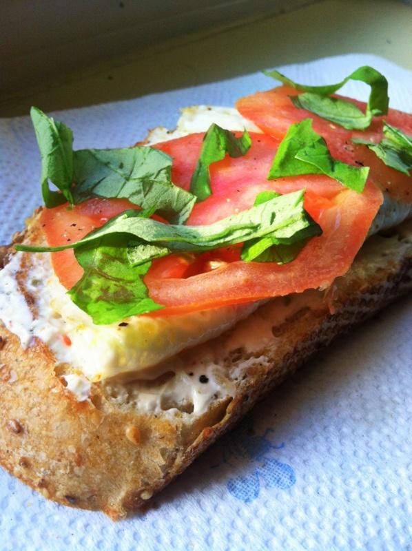 Lightened Up Breakfast: Open-faced Egg White and Tomato Sandwich on ...