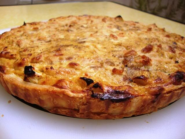 Cauliflower and caramelized onion tart - uses a sheet of puff pastry