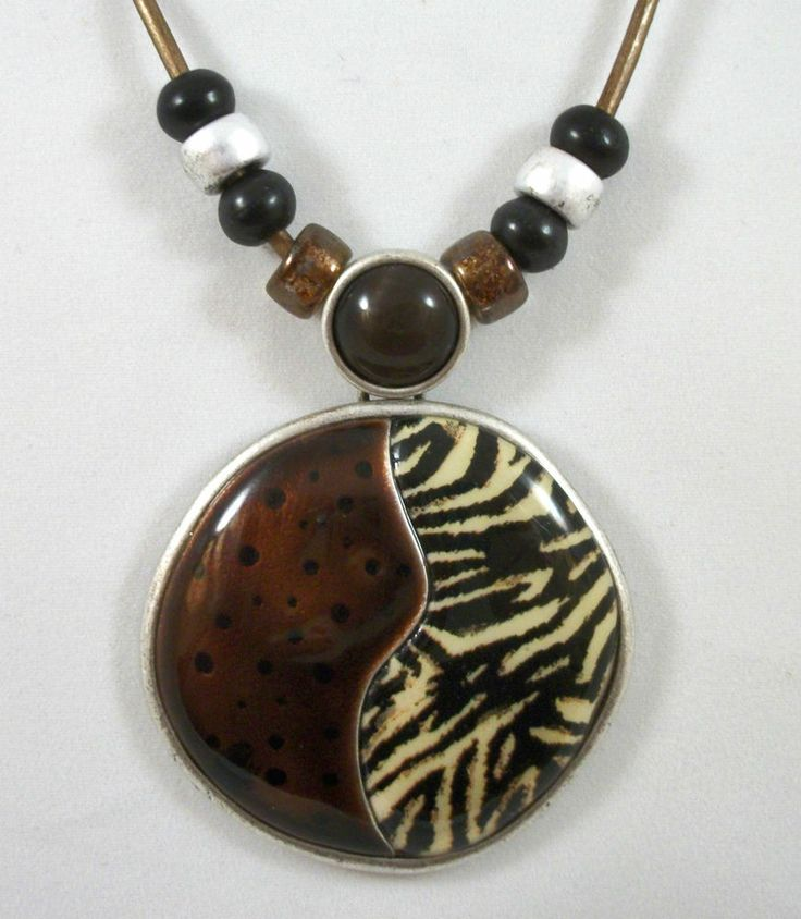 "CHICO'S Brown & Black Animal Print Pendant Necklace. Choker Length at 15""- 19"" Excellent Pre-Owned Condition!  $19.97 obo (Free S&H)"