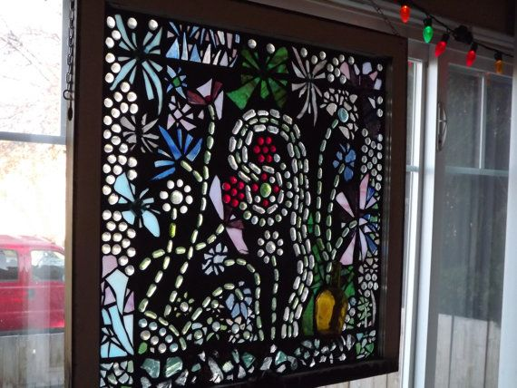 Mosaic flower garden vintage window by PiecesofhomeMosaics on Etsy, $275.00 #promooasis