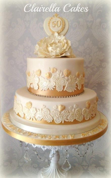 Cake Designs For Golden Wedding Anniversary : Golden Wedding Anniversary Cake golden wedding Pinterest