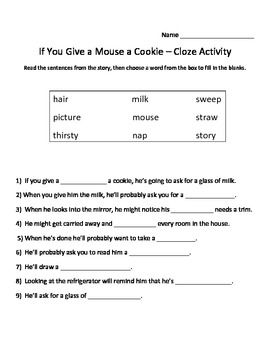 CLOZE worksheet for If You Give a Mouse a Cookie