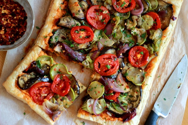 Hummus and Roasted Vegetable Tart | Appetizers | Pinterest
