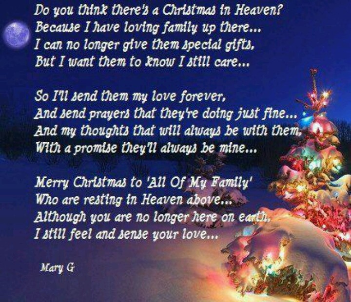 Christmas Lost Loved Ones Quotes : Christmas in heaven Missing you Pinterest