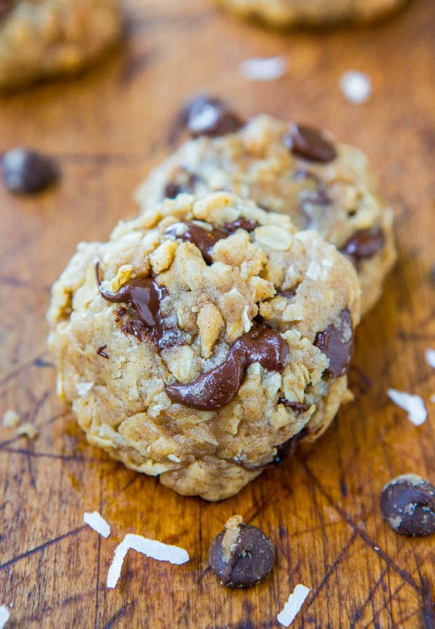 Soft and Chewy Oatmeal Coconut Chocolate Chip Cookies - No butter & no ...