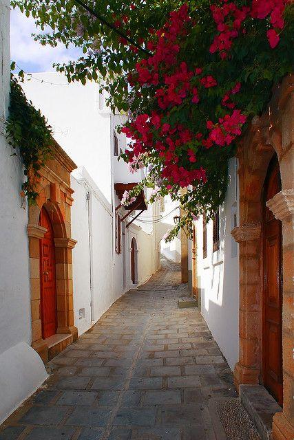 Streets of Lindos, Rhodes Island, Greece